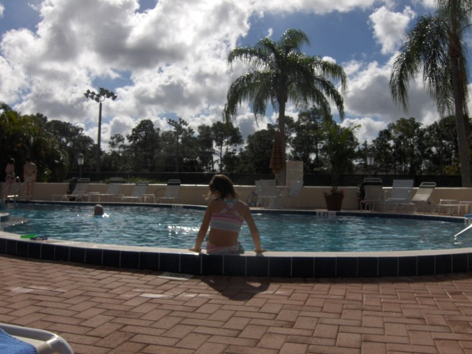 Jayme daydreaming at the pool